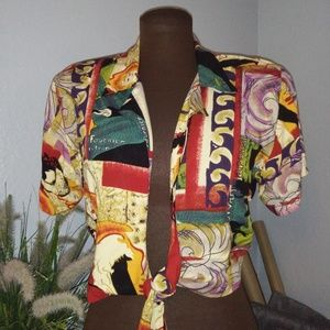 "VINTAGE TAURUS II 60""S CROPPED TIE FRONT SHIRT"